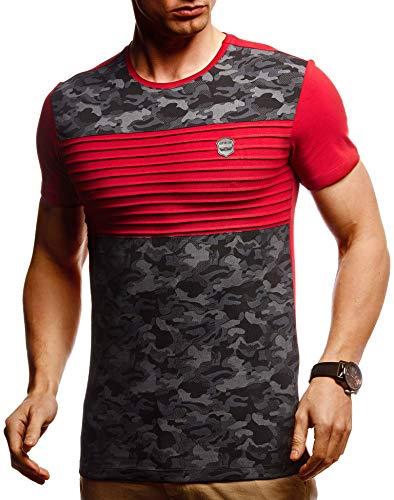Leif Nelson Herren Sommer T-Shirt Rundhals-Ausschnitt Slim Fit Baumwolle-Anteil Moderner Männer T-Shirt Crew Neck Hoodie-Sweatshirt Kurzarm lang LN405 Weinrot Medium