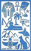 Aleks Melnyk 31 メタル ステンシル、ジャーナル、描画テンプレート、スクラップブッ、ステンシル、描画ツール、テンプレート、ステンシル、ルーラー テンプレート、エジプトのシンボル