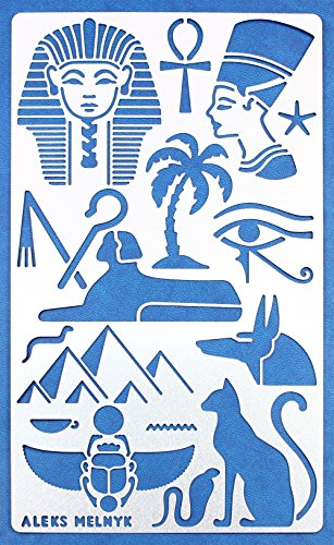 Aleks Melnyk #31 Schablone/Metall Stencil Vorlagen for Painting/Ägypten Symbole/1 Stück/DIY Kunst Projekte/Stencil für Scrapbooking und Zeichnen/Brandmalerei Schablone/Basteln