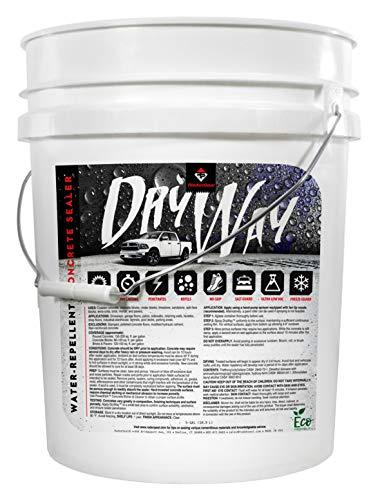 DryWay Water-Repellent Concrete Sealer - Penetrating Silane & Siloxane for Driveways, Garages, Patios, Pool Decks, Concrete, Brick & Pavers, Flat Finish, Interior/Exterior (5-Gallons)
