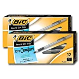 Bic Ultra Round Stic Grip Ball Point Pens, Medium Point, 1.2 mm, Black