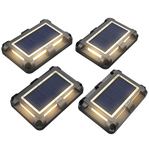 CLY Lote de 4 lámparas solares de pie, luz solar enterrada blanca cálida, lámpara de paisaje exterior, lámpara de pie de jardín, punto solar IP67 para exteriores
