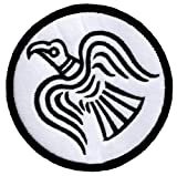 Odin's Raven White Embroidered Patch Viking Iron-on Norway Flag Banner