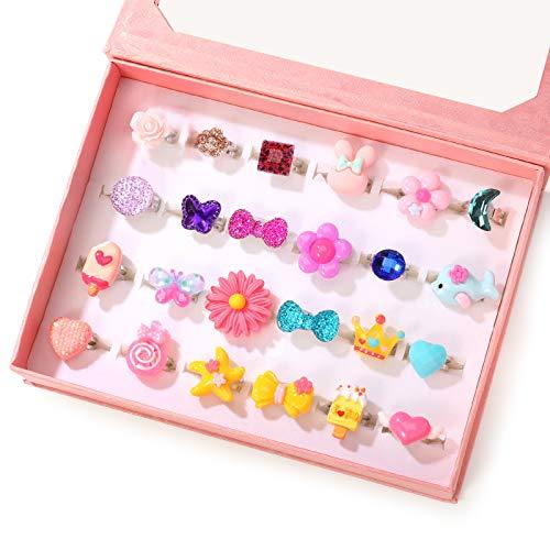 24個 かわいいジュエリー指輪セット おもちゃ 女の子リング かわいい指輪 サイズ調節でき 収納ボックス付き 宝石リング 子供用 女の子 縁日 景品 お祭り ハロウィン クリスマス ファッションリング 混合 指輪セット (24-red)