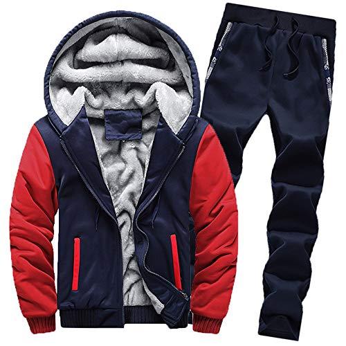 Aiserkly Herren Jogginganzug, Trainingsanzug, Sportanzug, Freizeitanzug, Hausanzug, Winter Verdicken Sporthose+Hoodie Zwei-Teilig Streetwear X-B-Rot 4XL