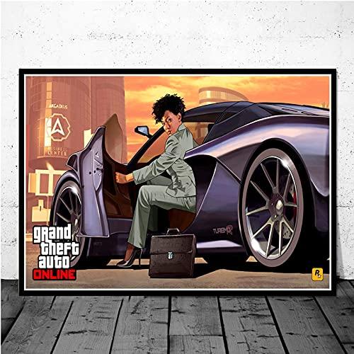 Aishangjia Videojuego GTA 5 Grand Theft Auto Art Decor Imagen Pintura en Lienzo Decoración para el hogar Póster Decoración de la Pared de la Sala de Estar 40x50 cm J-1503