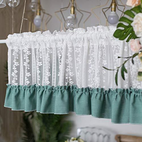 Kitchen Cafe Curtains, Short Half Window Curtain Valance, Kitchen Curtain Valances, for Bathroom Bedroom Living Room (150 cm (W) x 40 cm (H), One Piece)