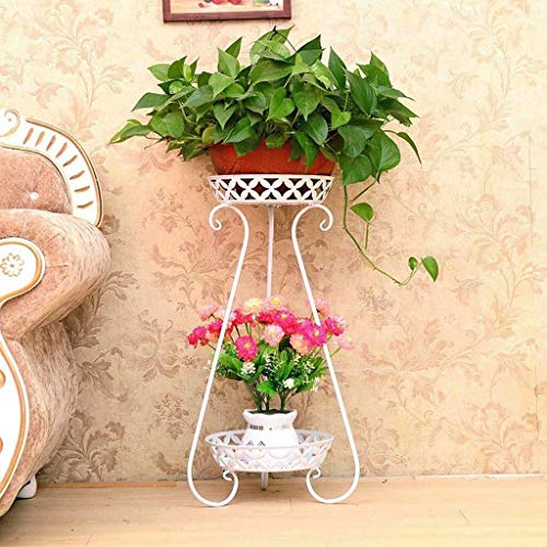 Vase Grave European Wrought Iron Flower Shelf Three-story Indoor Living Room Floor Stand Outdoor Garden Plant Frame Black Hollow 79.5 * 31cm for flowers (Color : White)