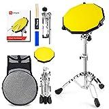Vangoa 12 pulgadas Silent Drum Pad Silicone Practice Pad para principiantes, con soporte de caja, baquetas, bolsa de transporte