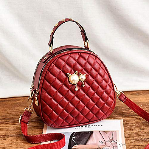 YUNVWUGUA PU Enkele Schouder Shell Bag Ronde Rhombic Schouder Messenger Bag Zachte Leer Dames Tas Grote-Capaciteit Wild Mode Europa Amerika Dames Student Bag Reistas Cross-Body Tassen large Rood