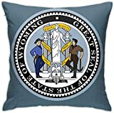 HOJJP Official Seal of Wyoming Square Throw Pillow Covers Set Cushion Cases Pillowcases for Sofa Bedroom Car 18 X 18 Inch