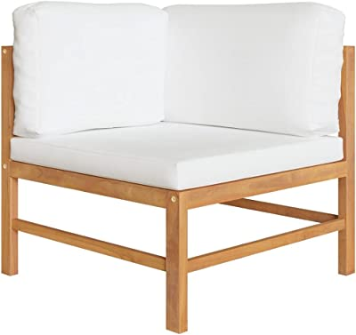 vidaXL Solid Teak Wood 2-Seater Garden Bench Outdoor Backyad Patio Park Terrace Chair Seat Sitting Wooden Furniture with Cream Cushions