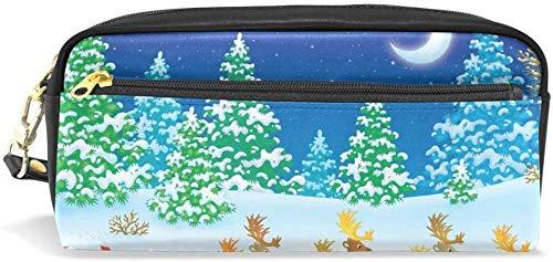 Geldbörse Weihnachtsbaum Weihnachtsmann Mond Bleistift Fall Briefpapier Kosmetiktasche Brieftasche große Kapazität wasserdichte Frauen