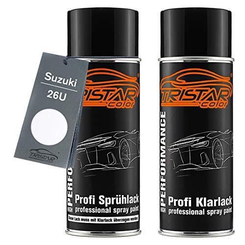 TRISTARcolor Autolack Spraydosen Set für Suzuki 26U Superior White Basislack Klarlack Sprühdose 400ml