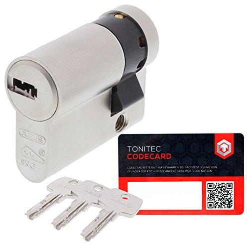 ABUS Schließzylinder Schließanlage Zylinderschloss als Halbzylinder gleichschließend EC550 mit 3 Schlüssel inkl. ToniTec CodeCard Größe 10 35 mm Schließung 1