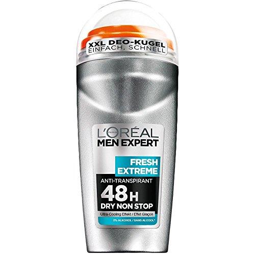 L\'Oréal Men Expert Fresh Extreme Deo Roll-On, 48H Schutz Reguliert Schweißbildung und bekämpft Körpergeruch frischer, langanhaltender Duft (6 x 50 ml)