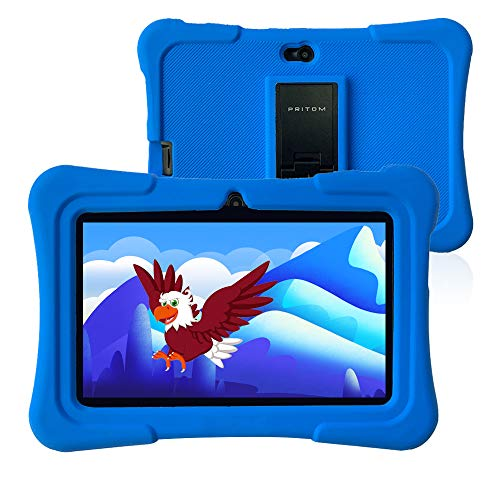 Pritom 7 inch kindertablet, Quad Core Android, 1 GB RAM + 16 GB ROM, WiFi, Bluetooth, dubbele camera, training, spelletjes, kinderslot, kindersoftware met voorgeïnstalleerde kindertabletbehuizing (donkerblauw)