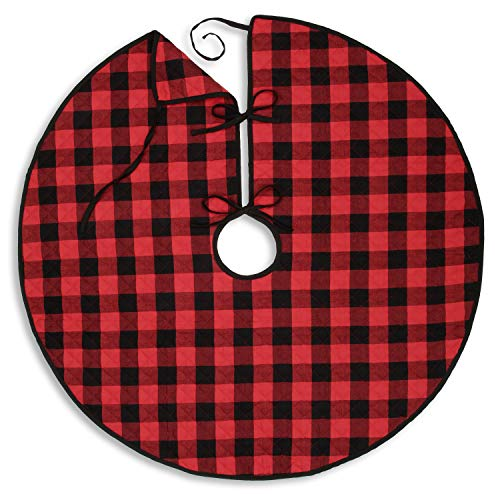 Cackleberry Home Red and Black Buffalo Check Woven Fabric Christmas Tree Skirt Quilted Reversible 48 Inches