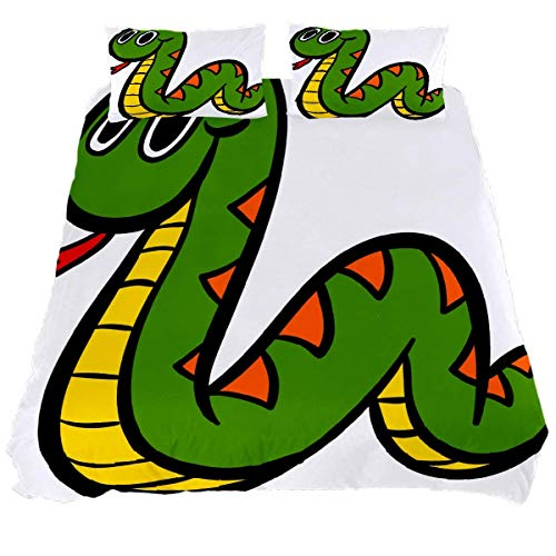 YZ-YUAN Cute Cartoon Snake Bedding Sets Breathable Bedclothes 3 Pieces Bedding Duvet Cover Sets (1 Duvet Cover + 2 Pillowcases) Room Decor Ultra Soft Microfiber(NO Comforter Included)