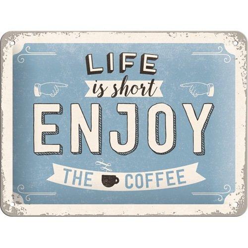 Nostalgic-Art 26190 Word Up - Enjoy the Coffee, Blechschild 15x20 cm