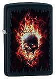 Zippo Burning Skull Benzinfeuerzeug, Messing, Edelstahloptik, 1 x 6 x 6 cm