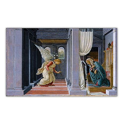 YCHND Sandro Botticelli Opera d'Arte Quadri su Tela《L'Annunciazione》Quadro Wall Art Famoso Dipinto Poster E Stampe per La Decorazioni Domestica 70x100cm Senza Cornice