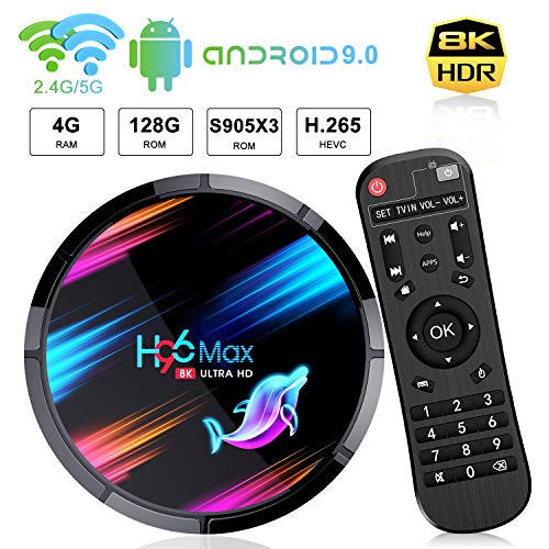 H96 Max Android 9.0 TV Box【4G+128G】 8 K * 4K Ultra HD Gehäuse Android TV Amlogic S905 X3 Quad-Core 64bit Cortex-A55 Bluetooth 4.0 WiFi 2.4G 5G LAN1000M USB 3.0 Smart Android TV Box