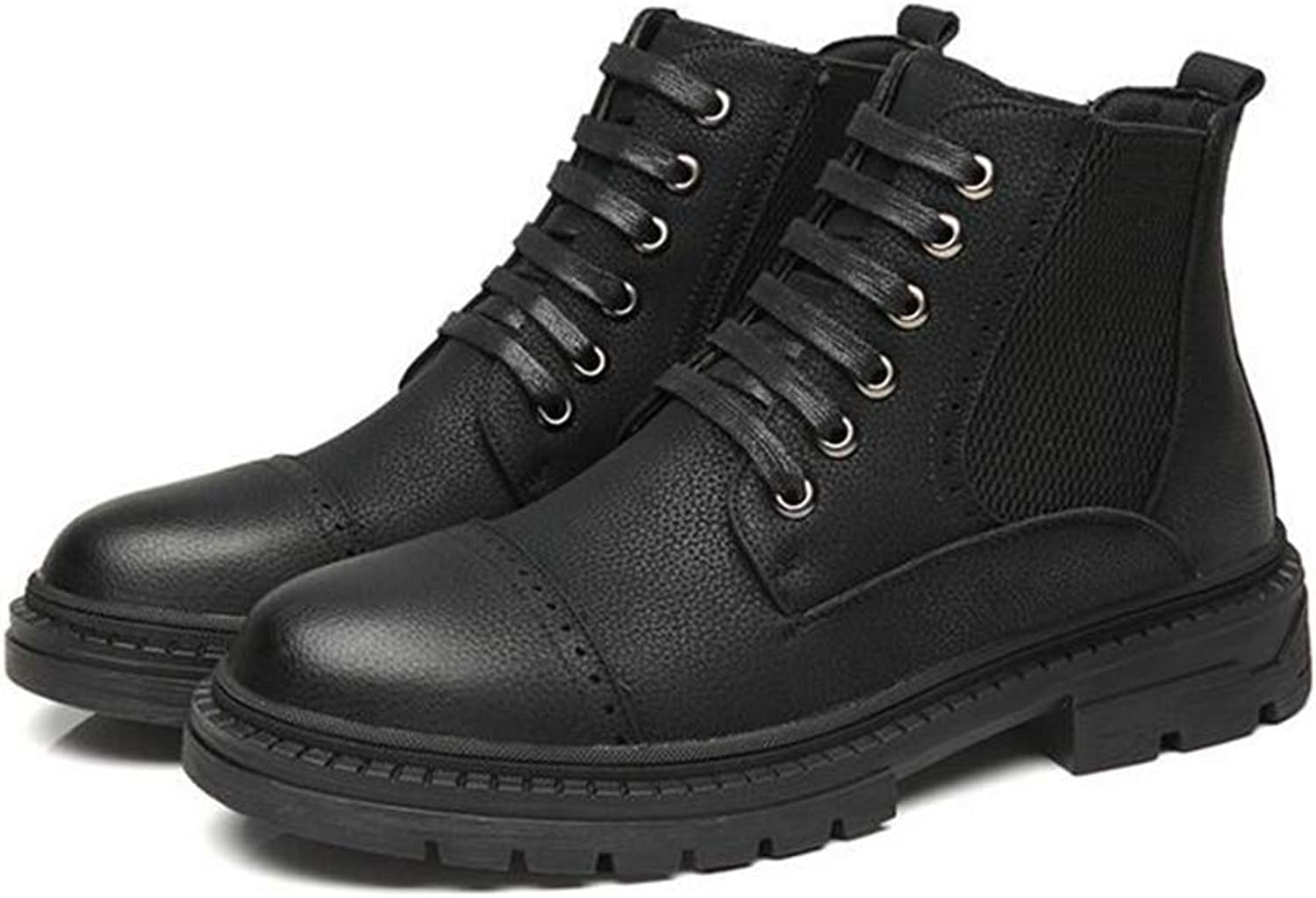 Y-H Men's Tooling Boots, Winter Plus Velvet Warm Windproof Military Boots,Mens Artificial PU Lace-up Martins Boots, Business shoes (color   Black, Size   44)