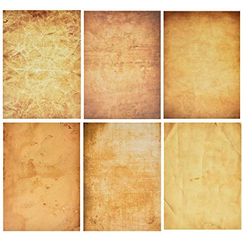 120 Pack Aged Paper Vintage Antique Stationery Papers Old Fashion Looking 6 Design Double Sided 8.5'X 11' Letter Sheets For Writing Calligraphy, Printing, Scrapbook Crafts, Map, Certificate Invitation