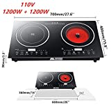 HYYKJ Double Induction Cooktop Cooker 2400W 110V Digital Electric Countertop Burner Touch Sensor Control Stove Dual Hot Plate 8 Gear Firepower