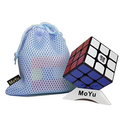OJIN MoYu WEILONG GTS 3x3x3 Cube Sticker Puzzle Rompicapo Twist Puzzle Toys con una Borsa Cubo e un Cubo treppiede (Black)