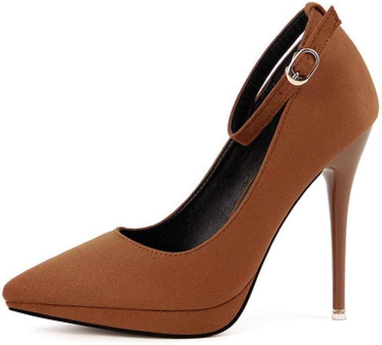 SXHDMY High Heel Quality Material Women's Fashion Elegant Sexy Work shoes High Heels Single shoes High Heels 11.5CM 4 colors high Heels (color   Brown, Size   EU38 UK5.5 CN38)