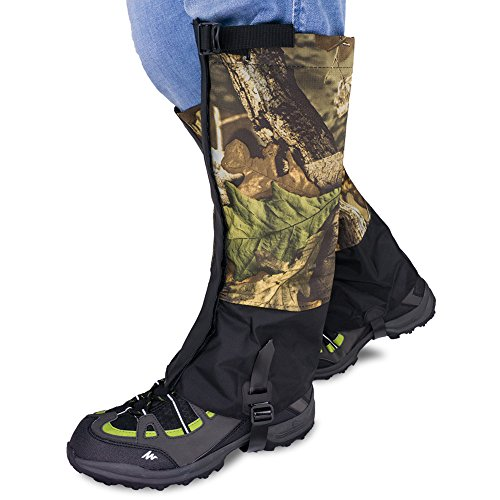 Qshare Leg Gaiters for Boots - Waterproof Hiking Climbing Hunting Snow High Leg Gaiters(Men and Women) (Woods, Woods-L)