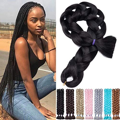 6 paquetes de 105cm Extensiones de cabello trenzado Jumbo largo real Afro Box Trenzas Negro Marrón Rubio Trenza sintética Cola de caballo Crochet