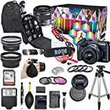 Canon EOS M6 Mirrorless Digital Camera with 15-45mm Lens Video Creator Kit (Black) + Wide Angle Lens + 2X Telephoto Lens + Flash + SanDisk 32GB SD Memory Card + Accessory Bundle