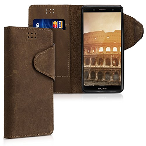 kalibri Hülle kompatibel mit Sony Xperia XZ2 Compact - Leder Handyhülle - Handy Wallet Hülle Cover in Braun