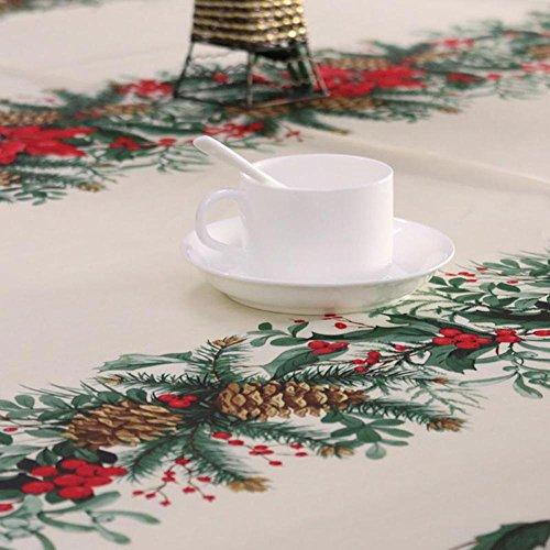 Bingpong Doux Noël Nouvel an Rectangulaire Décoration Nappe Accueil Cuisine Salle À Manger Fête De Mariage Festival Tissu (150 * 180cm/59 * 71pouces, Pomme de pin)