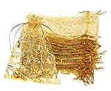 Shapenty 50PCS Organza Gift Bags Wedding Favor Candy Business Samples Display Jewelry Pouch Wrap with Drawstring for Baby Shower and Birthday Party (Gold)