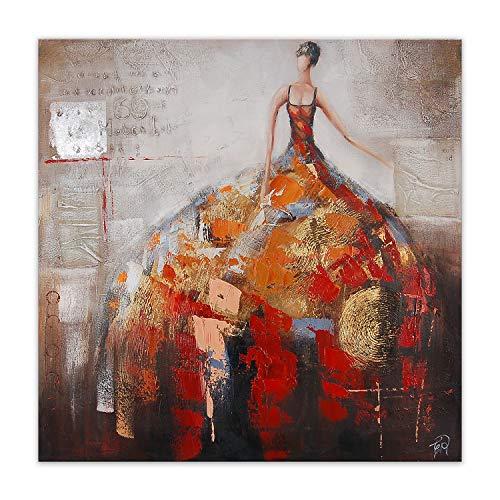 ADM Frau Gemälde, handgemalt, figurativ, auf Leinwand, mit Dekorationen in Relief und auf hohen ästhetischen Rahmen montiert AS257X1