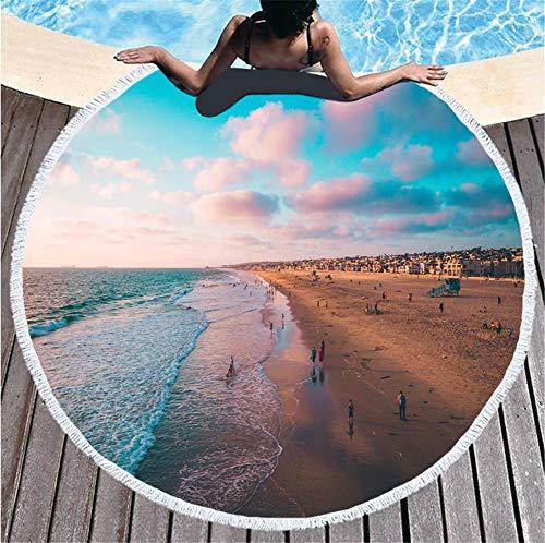 ZCQFFF Tropicale strandhanddoek, strandhanddoek, rond, van microvezel, voor volwassenen