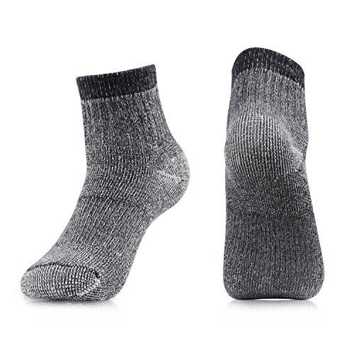Men's Merino Wool Hiking Socks-Thermal Warm Crew Winter Ankle Socks for Trekking,Multi Performance,Outdoor Skiing,4 Pack