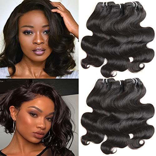 Tissage Bresilien En Lot Meches Bresiliennes Bouclees 6 Bresiliens Virgin Hair Body Wave 8 pouces(20.3cm) Court Cheveux Boucles Cheveux Bresiliens Vierge de 50g/Bundles