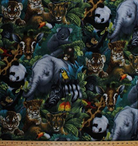 Fleece (not for masks) A Rare Occasion Baby Animals Jungle Safari Elephants Giraffes Pandas Tigers Cheetahs Animal Fleece Fabric Print by The Yard kal-2016-3a-1