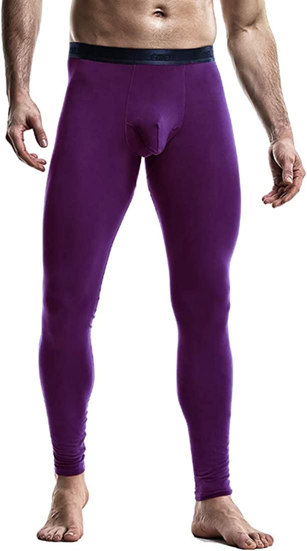 Ouruikia Men's Thermal Underwear Thermal Bottoms Long Johns Bottoms Thermal Pants 2 In 1 Underwear