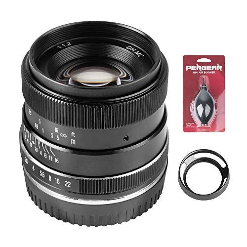 PERGEAR 35mm F1.2 大口径 単焦点レンズ 手動焦点固定レンズ Fuji X-T1 X-T2 X-T3 X-T4 X-T20 X-T30 X-Pro2 X-Pro3 X-E1 X-E2 E-E2s X-E3に対応 レンズフードとブロアー同梱 (Fuji Xマウント)
