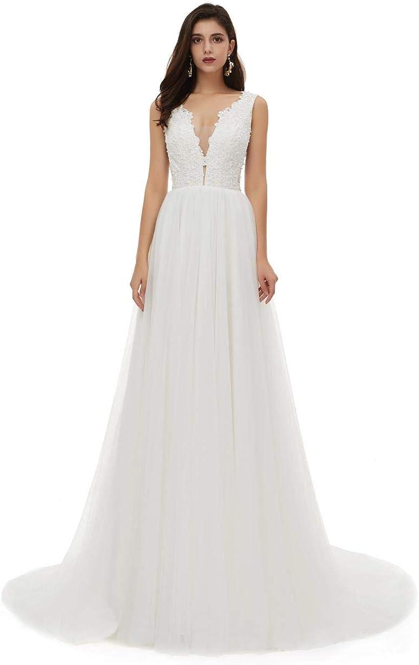 haixiangdress Women's Tulle Applique Wedding Dress Long Chiffon Beach Bridal Dresses Evening Formal Gowns