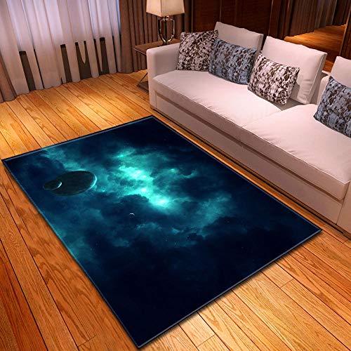 CMYKYUH Alfombra Salon Planeta Azul 120 x 170 cm Alfombra De Salón...