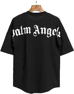 HOSD Palm Tree Angel Letra Grande Camiseta de Manga Corta de algodón Estampada Pareja Suelta Grande de Manga Corta Camiset...