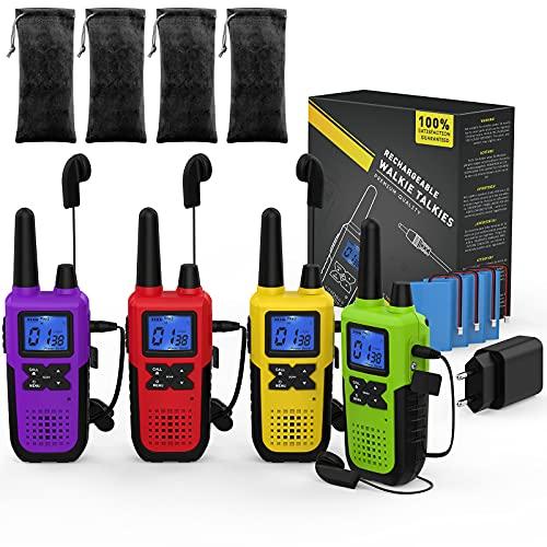 PMR446 - Walkie talkie de largo alcance para adultos, recargable, 4 unidades, con auriculares y juego de micrófono, batería y cable de carga USB, funda de carga