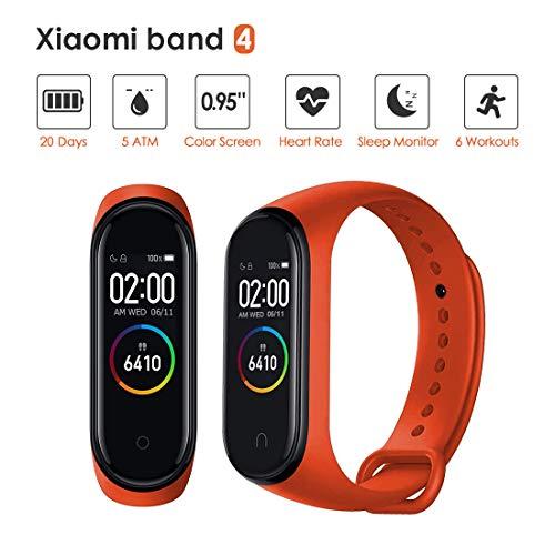 Xiaomi Mi Band 4 Pulsera de Actividad,Monitores de Actividad,Pantalla Pulsómetro Fitness Tracker, Smartwatch con 0.95''Pantalla AMOLED a Color ,con ios y Android, Naranja